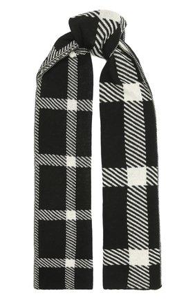 Мужской кашемировый шарф JOHNSTONS OF ELGIN черно-белого цвета, арт. HAY02940 | Фото 1