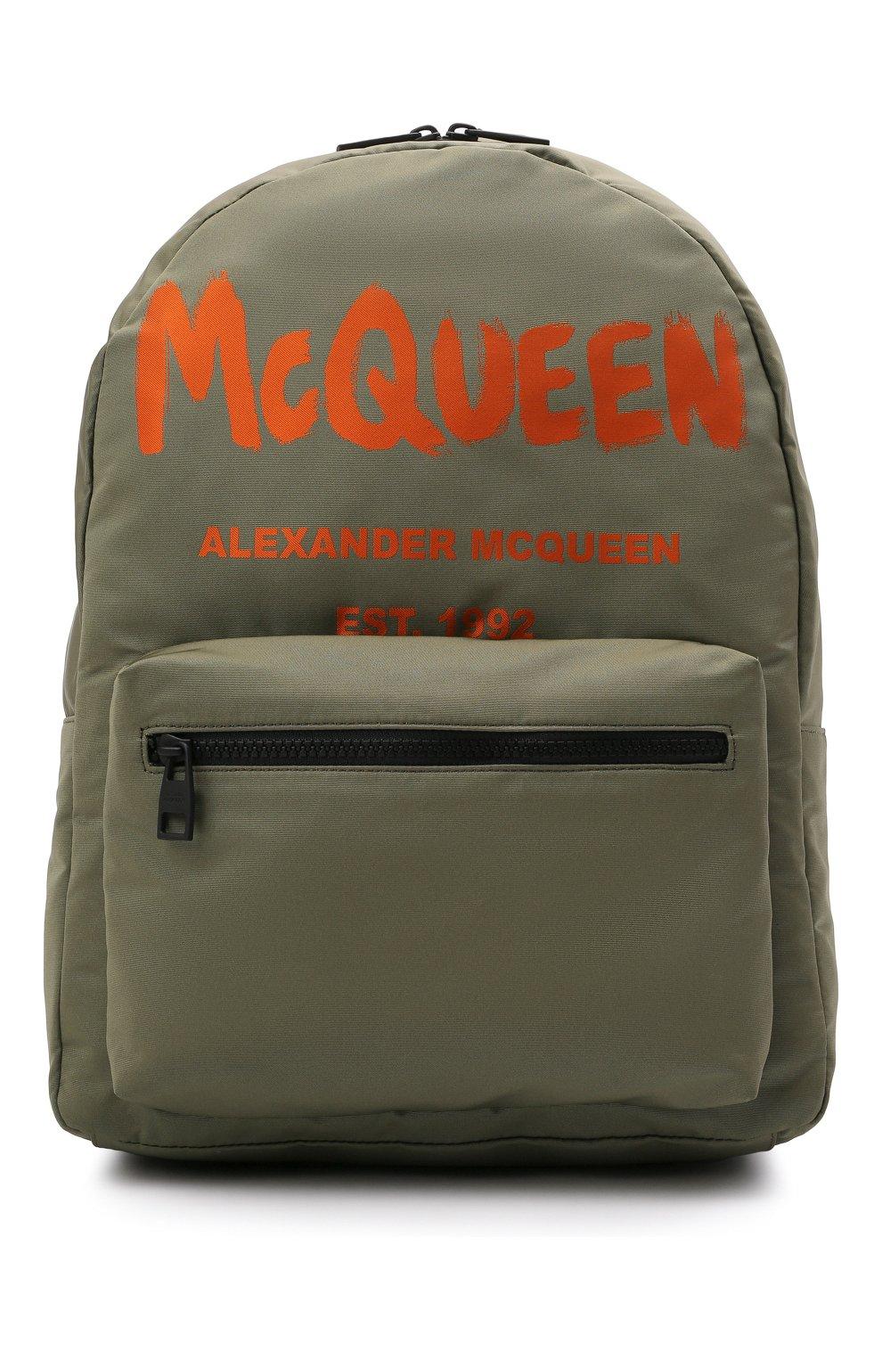 Мужской текстильный рюкзак ALEXANDER MCQUEEN хаки цвета, арт. 646457/1AABW   Фото 1