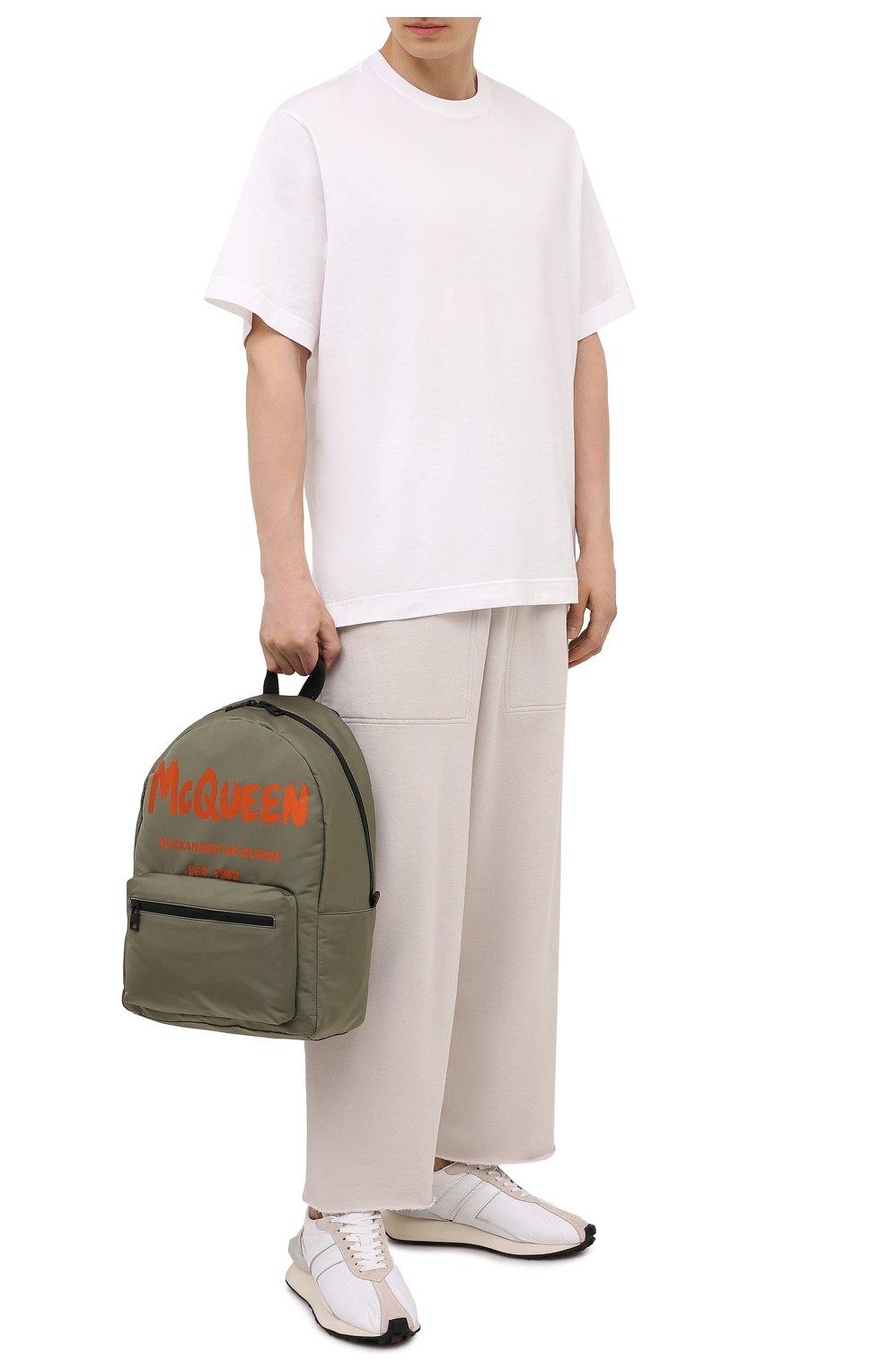 Мужской текстильный рюкзак ALEXANDER MCQUEEN хаки цвета, арт. 646457/1AABW   Фото 2