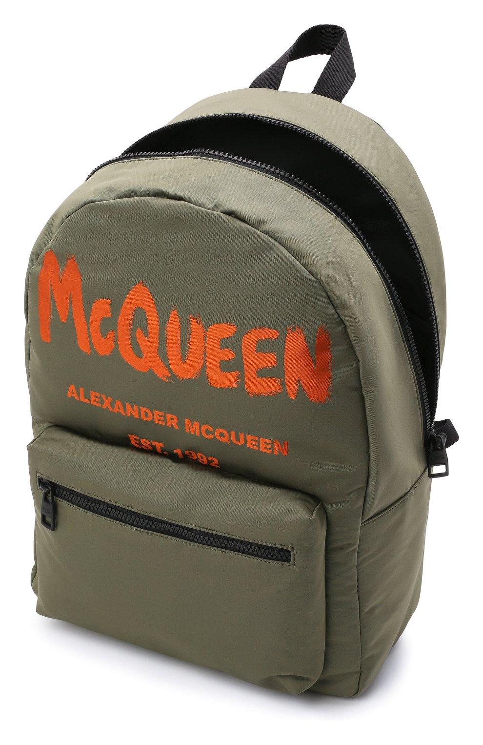 Мужской текстильный рюкзак ALEXANDER MCQUEEN хаки цвета, арт. 646457/1AABW   Фото 4