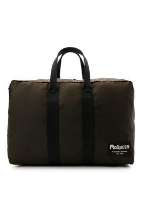Мужская текстильная спортивная сумка ALEXANDER MCQUEEN хаки цвета, арт. 662867/1AABY | Фото 1 (Ремень/цепочка: На ремешке; Материал: Текстиль)
