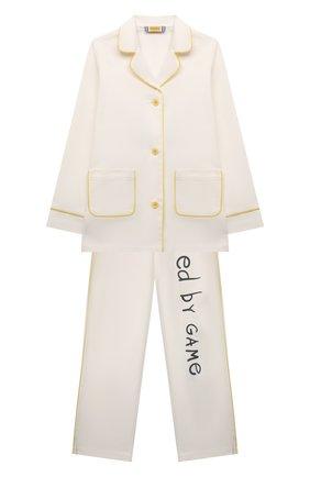 Детская хлопковая пижама MUMOFSIX белого цвета, арт. MOSSS21_PJWH   Фото 1
