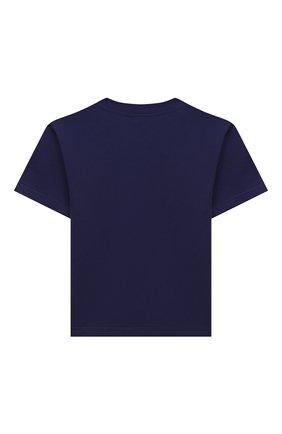 Детская хлопковая футболка BALENCIAGA темно-синего цвета, арт. 556155/TKVC7 | Фото 2