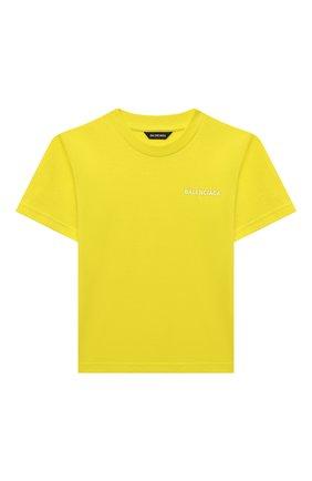 Детская хлопковая футболка BALENCIAGA желтого цвета, арт. 556155/TKVC3   Фото 1