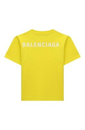 Детская хлопковая футболка BALENCIAGA желтого цвета, арт. 556155/TKVC3   Фото 2