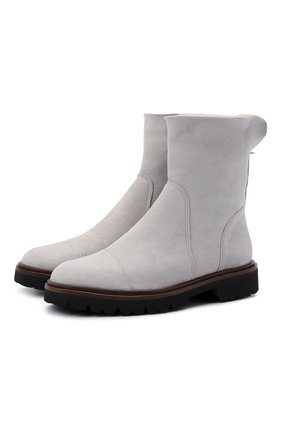 Женские замшевые ботинки KITON серого цвета, арт. D52805X04T78 | Фото 1 (Каблук высота: Низкий; Женское Кросс-КТ: Зимние ботинки; Подошва: Платформа; Материал внешний: Замша; Материал утеплителя: Натуральный мех)
