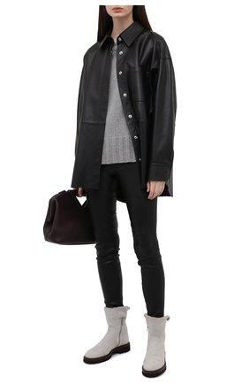 Женские замшевые ботинки KITON серого цвета, арт. D52805X04T78 | Фото 2 (Каблук высота: Низкий; Женское Кросс-КТ: Зимние ботинки; Подошва: Платформа; Материал внешний: Замша; Материал утеплителя: Натуральный мех)