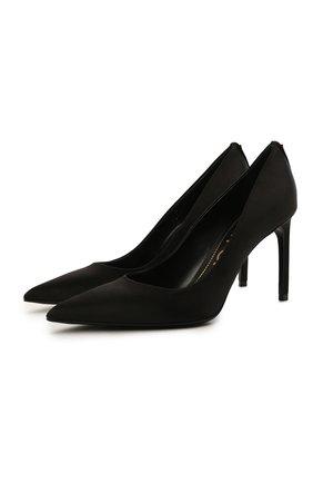Женские текстильные туфли t-screw TOM FORD черного цвета, арт. W2326T-STA | Фото 1 (Материал внешний: Текстиль; Материал внутренний: Натуральная кожа; Каблук тип: Шпилька; Каблук высота: Средний, Высокий; Подошва: Плоская)