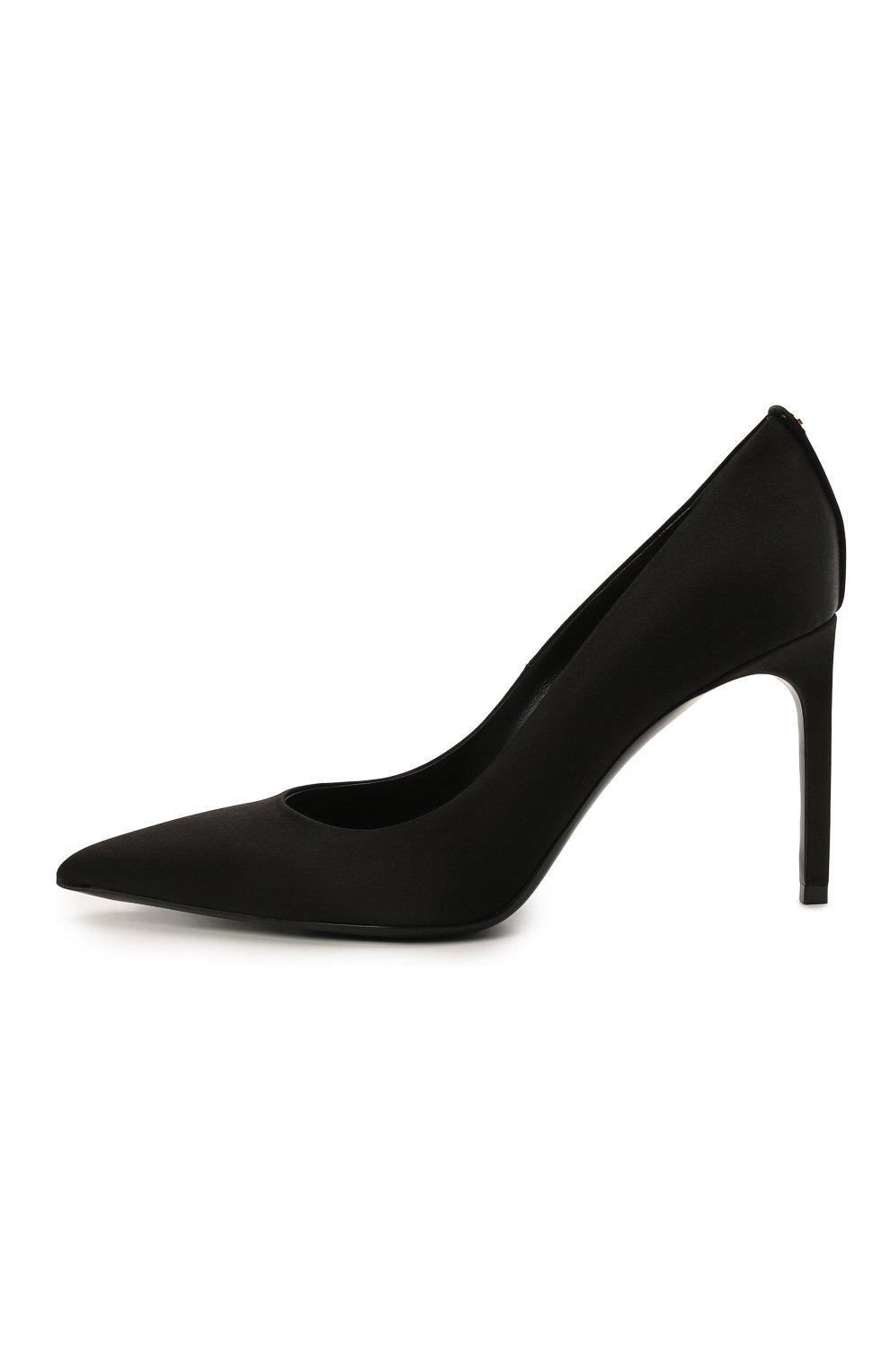 Женские текстильные туфли t-screw TOM FORD черного цвета, арт. W2326T-STA   Фото 3 (Материал внешний: Текстиль; Каблук высота: Высокий, Средний; Материал внутренний: Натуральная кожа; Каблук тип: Шпилька; Подошва: Плоская)