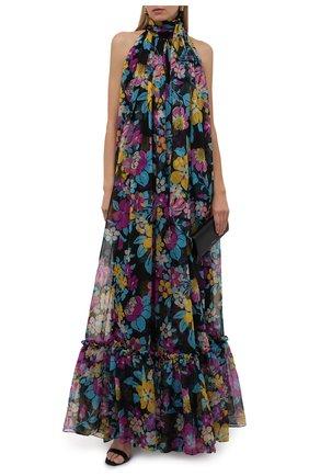 Женское шелковое платье SAINT LAURENT разноцветного цвета, арт. 661876/Y6C39   Фото 2