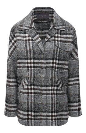 Женская куртка LORENA ANTONIAZZI темно-серого цвета, арт. A2109CP23A/3459 | Фото 1 (Материал внешний: Синтетический материал; Длина (верхняя одежда): Короткие; Кросс-КТ: Куртка; Рукава: Длинные; Стили: Кэжуэл)