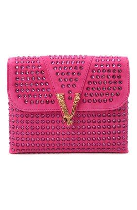 Женская сумка virtus VERSACE фуксия цвета, арт. DBSH322/1A00861 | Фото 1 (Размер: mini; Материал: Натуральная кожа; Сумки-технические: Сумки через плечо; Ремень/цепочка: С цепочкой)