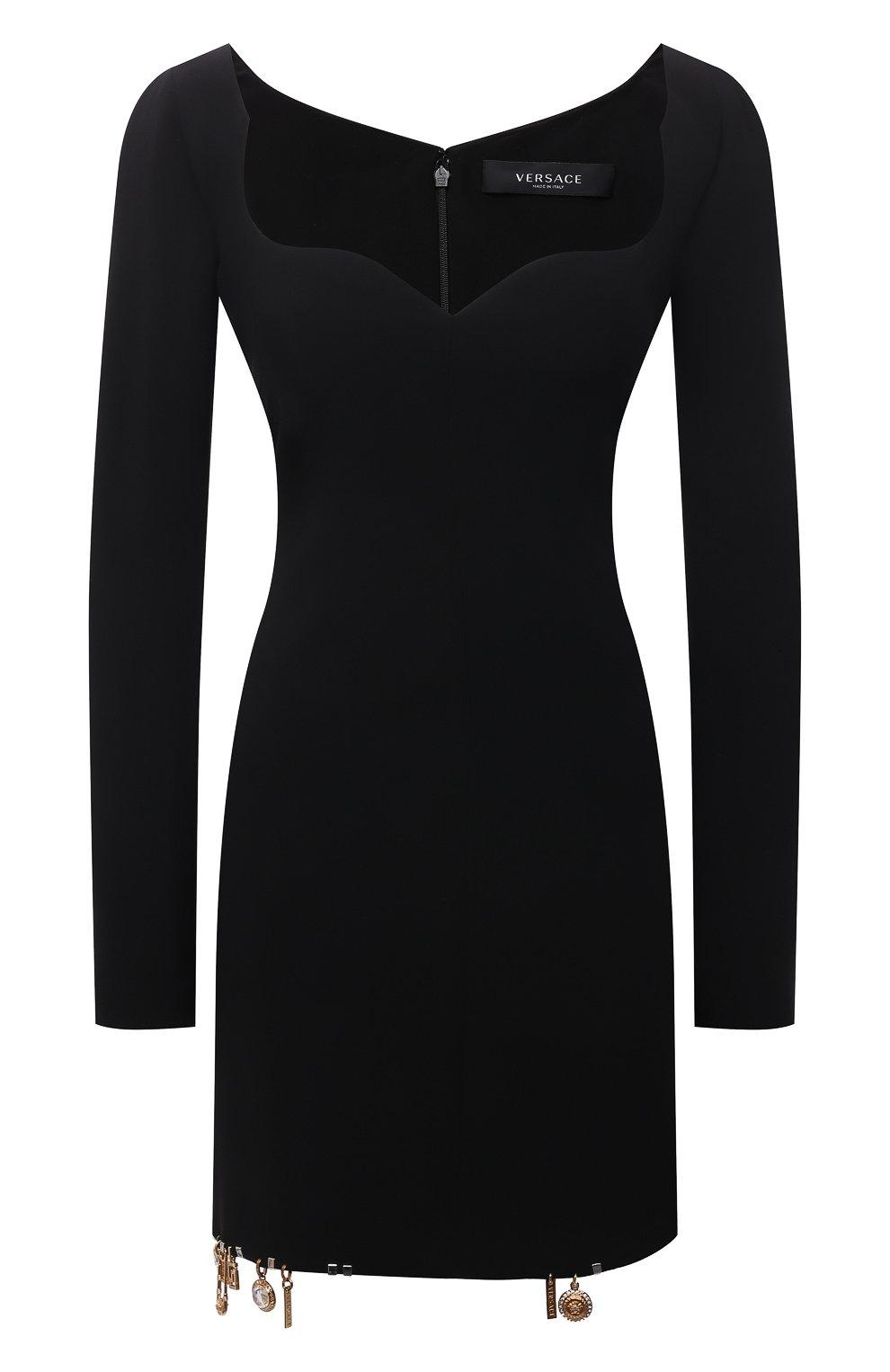 Женское шелковое платье VERSACE черного цвета, арт. 1001120/1A01050 | Фото 1