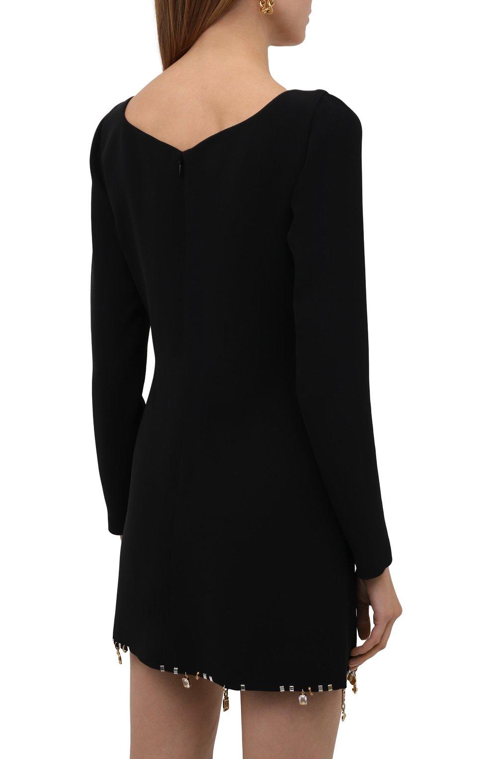 Женское шелковое платье VERSACE черного цвета, арт. 1001120/1A01050 | Фото 4