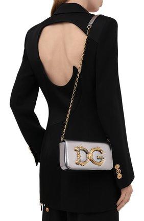 Женская сумка dg girls DOLCE & GABBANA серебряного цвета, арт. BB6885/AW121 | Фото 2 (Материал: Натуральная кожа; Сумки-технические: Сумки через плечо; Ремень/цепочка: С цепочкой; Размер: mini; Женское Кросс-КТ: Вечерняя сумка)