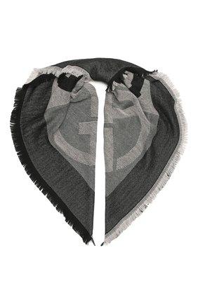 Женский шерстяной платок GIORGIO ARMANI черного цвета, арт. 795315/1A143   Фото 1