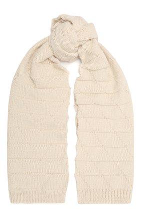 Женский шерстяной шарф BOTTEGA VENETA белого цвета, арт. 665589/V17J0   Фото 1