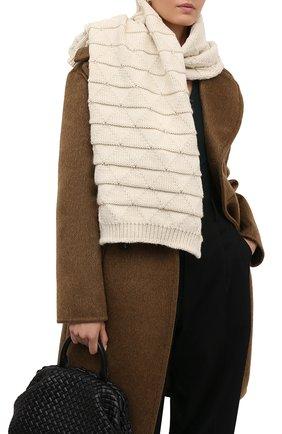 Женский шерстяной шарф BOTTEGA VENETA белого цвета, арт. 665589/V17J0   Фото 2