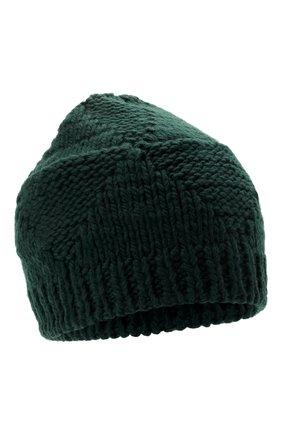 Женская шерстяная шапка BOTTEGA VENETA темно-зеленого цвета, арт. 665564/V10K0   Фото 1 (Материал: Шерсть)