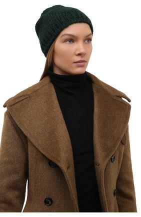 Женская шерстяная шапка BOTTEGA VENETA темно-зеленого цвета, арт. 665564/V10K0   Фото 2 (Материал: Шерсть)