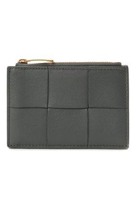 Женский кожаный футляр для кредитных карт BOTTEGA VENETA серого цвета, арт. 651393/VCQC4 | Фото 1