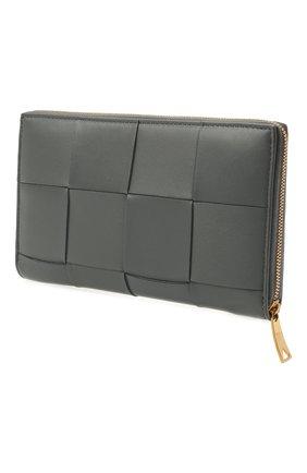 Женские кожаный кошелек maxi intreccio BOTTEGA VENETA серого цвета, арт. 651368/VCQC1 | Фото 2
