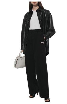 Женские хлопковые брюки BALENCIAGA черного цвета, арт. 641602/TKVI9 | Фото 2