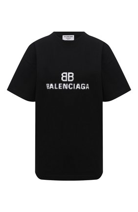 Женская хлопковая футболка BALENCIAGA черного цвета, арт. 612965/TKVI7 | Фото 1