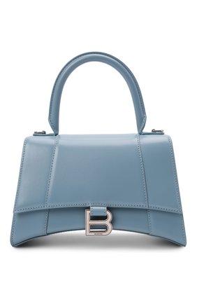 Женская сумка hourglass s BALENCIAGA голубого цвета, арт. 593546/1QJ4Y | Фото 1 (Материал: Натуральная кожа; Сумки-технические: Сумки top-handle; Размер: small; Ремень/цепочка: На ремешке)