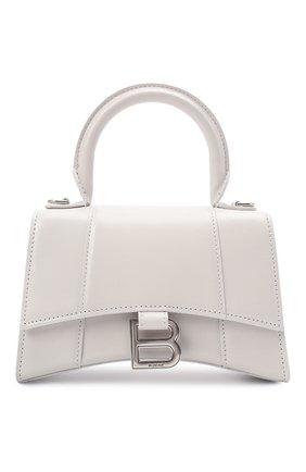 Женская сумка hourglass xs BALENCIAGA белого цвета, арт. 592833/1QJ4Y | Фото 1 (Материал: Натуральная кожа; Сумки-технические: Сумки top-handle; Размер: mini; Ремень/цепочка: На ремешке)
