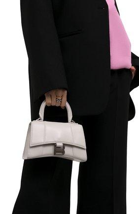 Женская сумка hourglass xs BALENCIAGA белого цвета, арт. 592833/1QJ4Y | Фото 2 (Материал: Натуральная кожа; Сумки-технические: Сумки top-handle; Размер: mini; Ремень/цепочка: На ремешке)
