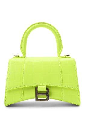 Женская сумка hourglass xs BALENCIAGA зеленого цвета, арт. 592833/15VDY | Фото 1 (Материал: Натуральная кожа; Сумки-технические: Сумки top-handle; Ремень/цепочка: На ремешке; Размер: mini)