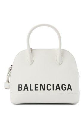 Женская сумка ville s BALENCIAGA белого цвета, арт. 550645/1IZ13 | Фото 1 (Ремень/цепочка: На ремешке; Размер: medium; Материал: Натуральная кожа; Сумки-технические: Сумки top-handle)