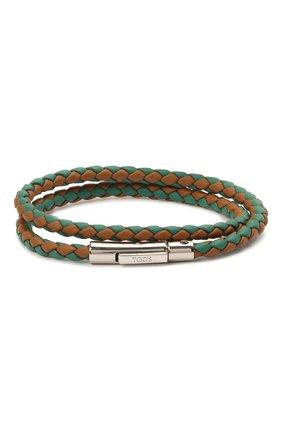 Мужской кожаный браслет TOD'S зеленого цвета, арт. XEMB1900200FLR   Фото 1