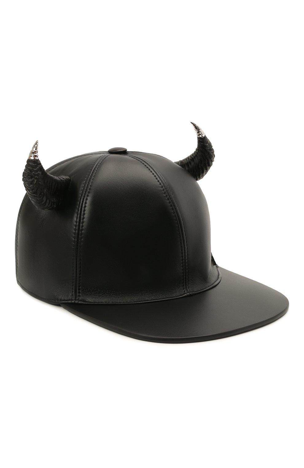 Мужской кожаная бейсболка GIVENCHY черного цвета, арт. BPZ024P0C0 | Фото 1