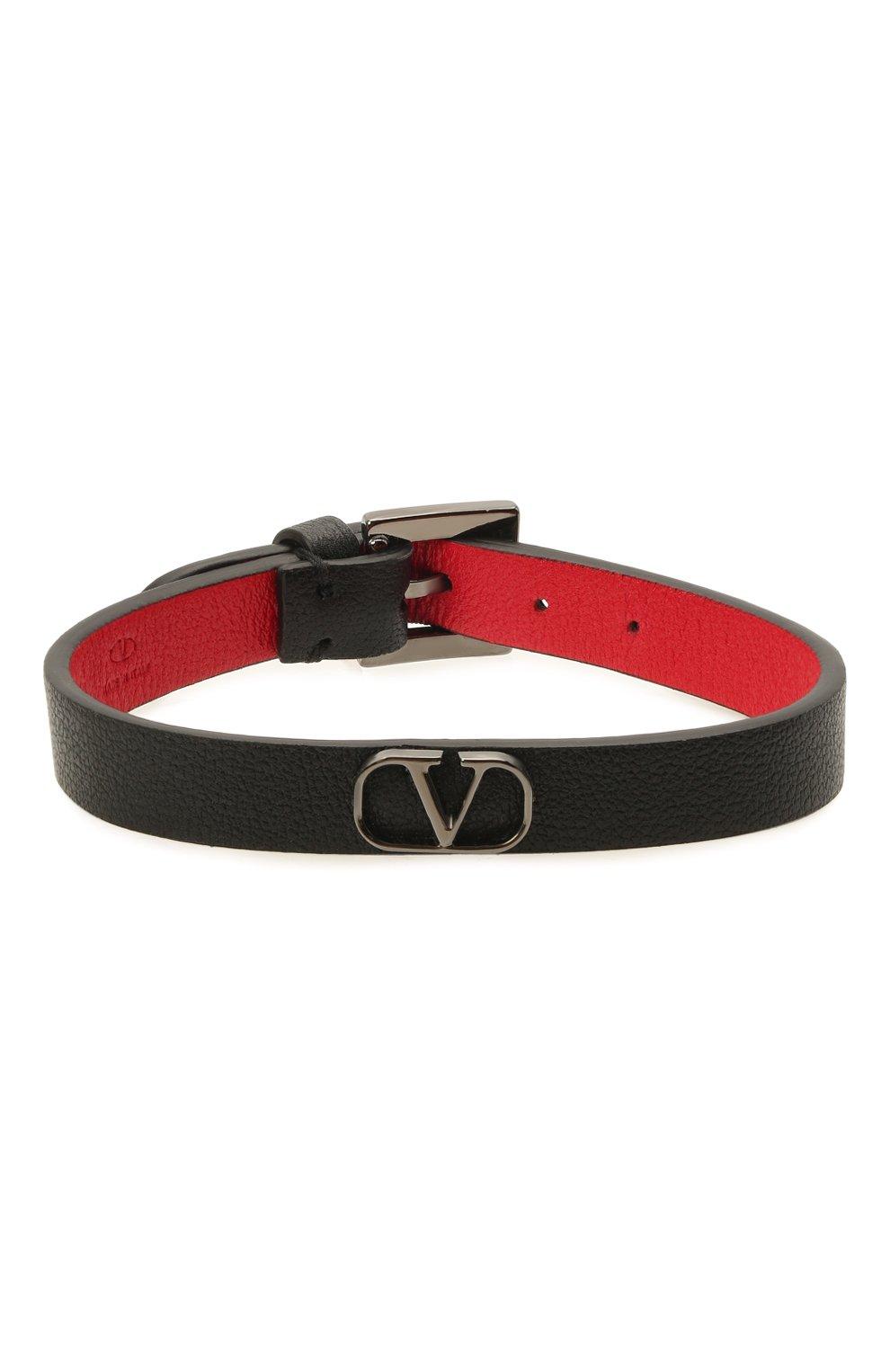 Мужской кожаный браслет VALENTINO черного цвета, арт. WY2J0L33/TCZ   Фото 1