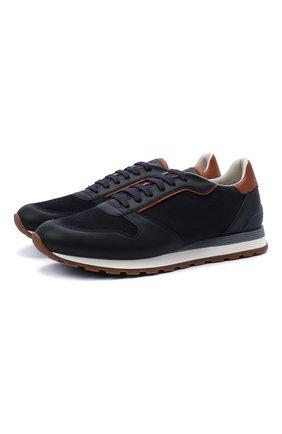 Мужские комбинированные кроссовки BRUNELLO CUCINELLI темно-синего цвета, арт. MZUSBEA258 | Фото 1 (Материал внутренний: Натуральная кожа; Подошва: Массивная; Стили: Спорт)