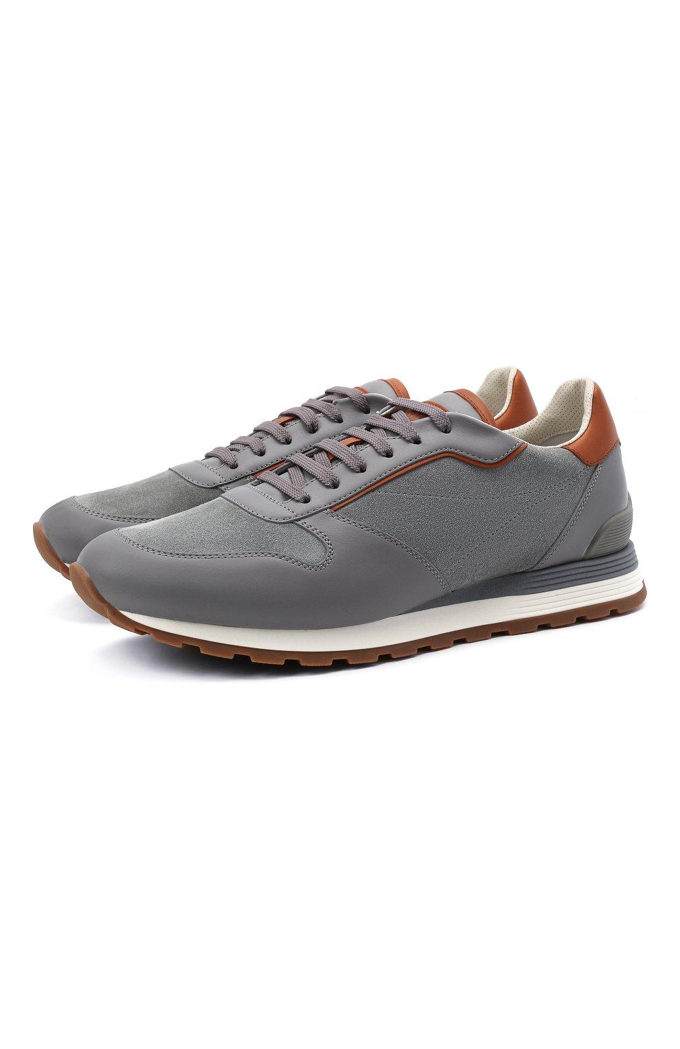 Мужские комбинированные кроссовки BRUNELLO CUCINELLI серого цвета, арт. MZUSBEA258 | Фото 1