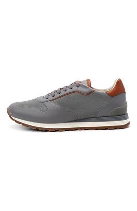Мужские комбинированные кроссовки BRUNELLO CUCINELLI серого цвета, арт. MZUSBEA258 | Фото 3