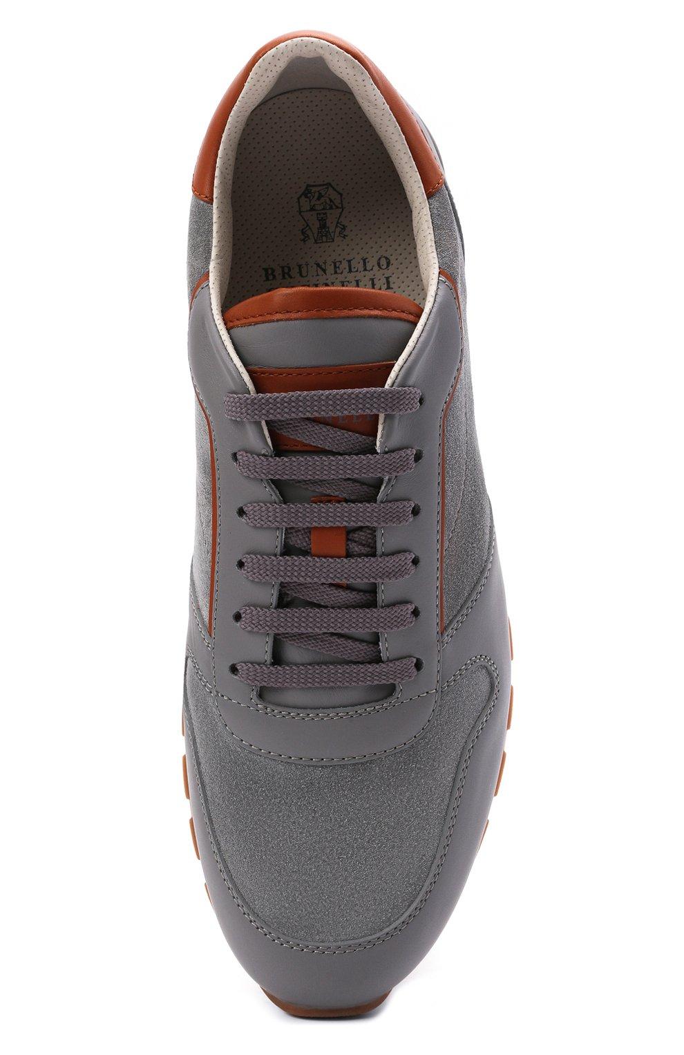 Мужские комбинированные кроссовки BRUNELLO CUCINELLI серого цвета, арт. MZUSBEA258 | Фото 5