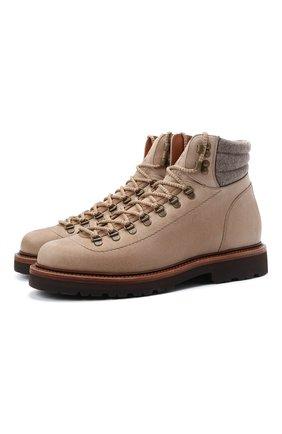 Мужские кожаные ботинки BRUNELLO CUCINELLI светло-бежевого цвета, арт. MZUSMFS890 | Фото 1 (Материал внутренний: Натуральная кожа; Подошва: Плоская; Мужское Кросс-КТ: Ботинки-обувь, Хайкеры-обувь)