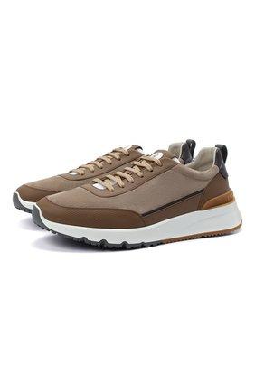 Мужские комбинированные кроссовки BRUNELLO CUCINELLI бежевого цвета, арт. MZUSWB0278 | Фото 1