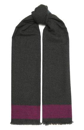 Мужской кашемировый шарф JOHNSTONS OF ELGIN темно-серого цвета, арт. WA001174 | Фото 1 (Материал: Кашемир, Шерсть; Кросс-КТ: кашемир)