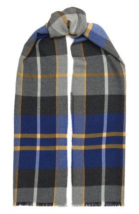 Мужской шерстяной шарф JOHNSTONS OF ELGIN синего цвета, арт. WD000446 | Фото 1 (Материал: Шерсть; Кросс-КТ: шерсть)