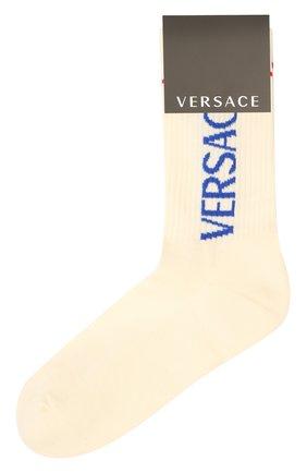 Мужские хлопковые носки VERSACE белого цвета, арт. 1001541/1A01191 | Фото 1 (Материал внешний: Хлопок; Кросс-КТ: бельё)