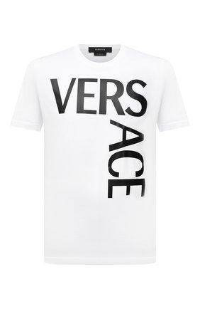 Мужская хлопковая футболка VERSACE белого цвета, арт. 1001288/1A00922 | Фото 1 (Длина (для топов): Стандартные; Материал внешний: Хлопок; Стили: Кэжуэл; Рукава: Короткие; Принт: С принтом)