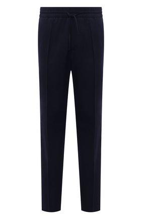 Мужские шерстяные брюки VERSACE темно-синего цвета, арт. 1001015/1A00982 | Фото 1 (Длина (брюки, джинсы): Стандартные; Материал внешний: Шерсть; Случай: Повседневный; Стили: Кэжуэл)