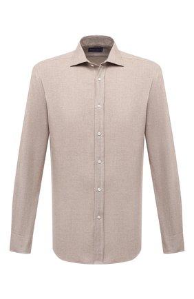 Мужская хлопковая рубашка RALPH LAUREN бежевого цвета, арт. 790856273 | Фото 1 (Длина (для топов): Стандартные; Материал внешний: Хлопок; Рукава: Длинные; Случай: Повседневный; Стили: Кэжуэл)
