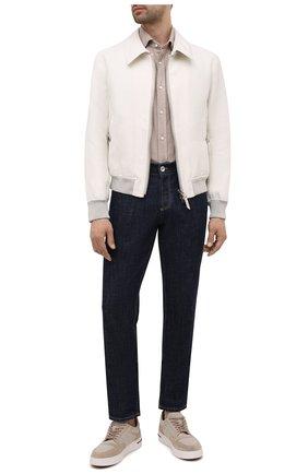 Мужская хлопковая рубашка RALPH LAUREN бежевого цвета, арт. 790856273 | Фото 2 (Длина (для топов): Стандартные; Материал внешний: Хлопок; Рукава: Длинные; Случай: Повседневный; Стили: Кэжуэл)