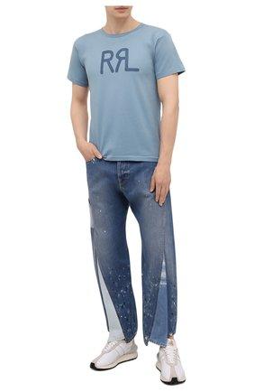 Мужская хлопковая футболка RRL голубого цвета, арт. 782813037 | Фото 2